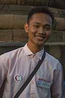 Borobudur, Java, Indonesia.  Young Indonesian Student, Practicing English while Visiting the Temple.