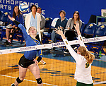BROOKINGS, SD - OCTOBER 28: Makenzie Hennen #3 from South Dakota State winds up for a kill against Emily Halverson #9 from North Dakota State during their match Sunday afternoon at Frost Arena in Brookings. (Photo by Dave Eggen/Inertia)