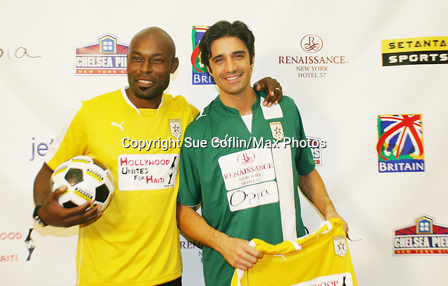 Jimmy Jean-Louis - Heroes & Gliles Marini (Dancing with the Stars) at the Celebrity soccer game to benefit Hollywood United for Haiti at 1st Setanta Cup Soccer Festival on April 11, 2009 at Chelsea Pers, NYC. (Photo  by Sue Cofln/Max Photos)