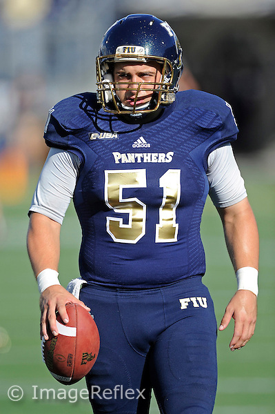 19 September 2015:  FIU long snapper Brandon Taylor (51) warms up prior to the game as the FIU Golden Panthers defeated the North Carolina Central University Eagles, 39-14, at FIU Stadium in Miami, Florida.