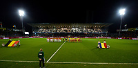 20171020 - LEUVEN , BELGIUM : team line ups pictured before the female soccer game between the Belgian Red Flames and Romania , the second game in the qualificaton for the World Championship qualification round in group 6 for France 2019, Friday 20 th October 2017 at OHL Stadion Den Dreef in Leuven , Belgium. PHOTO SPORTPIX.BE | DAVID CATRY