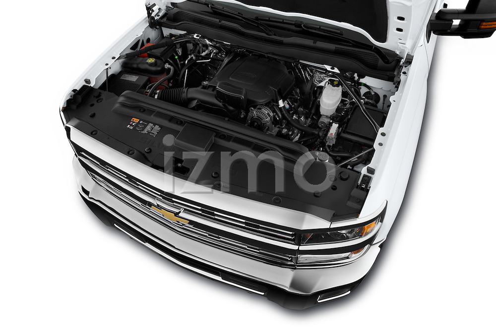 Car Stock 2016 Chevrolet Silverado-3500HD LT-Crew-SRW 4 Door Pickup Engine  high angle detail view