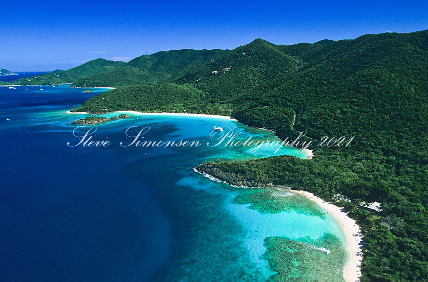 Aerial view<br /> Virgin Islands National Park<br /> Showing Denis Bay, Jumbie Bay and Trunk Bay<br /> St John<br /> US Virgin Islands