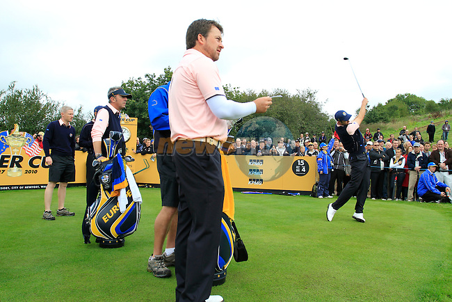 Graeme McDowell on the 15th tee during Practice Day 3 of the The 2010 Ryder Cup at the Celtic Manor, Newport, Wales, 29th September 2010..(Picture Eoin Clarke/www.golffile.ie)