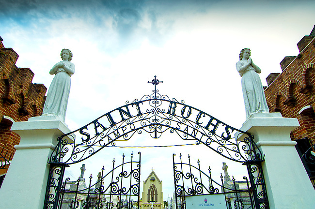 Saint Roch Cemetery entrance in New Orleans.  Saint Roch is the patron Saint of Miraculous Cures.