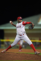 Williamsport Crosscutters pitcher Feliberto Sanchez (35) delivers a pitch during a game against the Batavia Muckdogs on August 28, 2015 at Dwyer Stadium in Batavia, New York.  Batavia defeated Williamsport 6-0.  (Mike Janes/Four Seam Images)