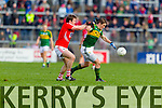 Stephen O'Brien Kerry in action against James Loughrey Cork in the National Football League at Pairc Ui Rinn, Cork on Sunday.