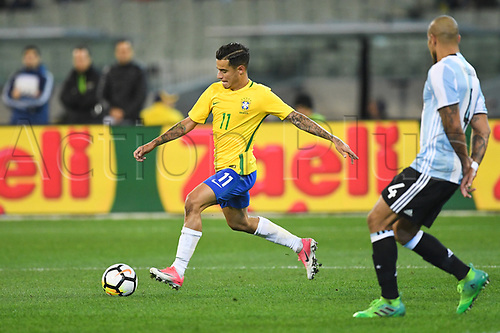 June 9th 2017, Melbourne Cricket Ground, Melbourne, Australia; International Football Friendly; Brazil versus Argentina; Philippe Correia of Brazil crosses the ball into the area