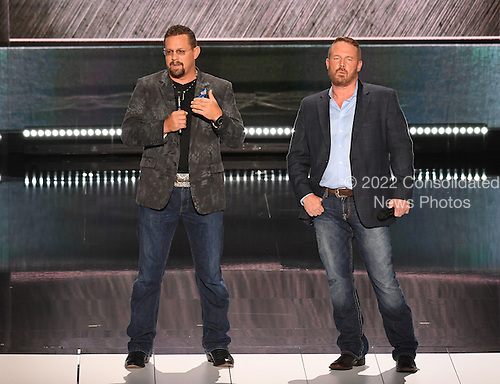 Mark Geist and John Tiegen, Benghazi Annex Security Team, make remarks at the 2016 Republican National Convention held at the Quicken Loans Arena in Cleveland, Ohio on Monday, July 18, 2016.<br /> Credit: Ron Sachs / CNP<br /> (RESTRICTION: NO New York or New Jersey Newspapers or newspapers within a 75 mile radius of New York City)