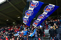 A Bath Rugby fan in the crowd waves a giant flag in support. Heineken Champions Cup match, between Stade Toulousain and Bath Rugby on January 20, 2019 at the Stade Ernest Wallon in Toulouse, France. Photo by: Patrick Khachfe / Onside Images
