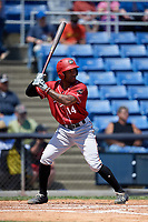 Altoona Curve right fielder Bralin Jackson (14) at bat during a game against the Binghamton Rumble Ponies on June 14, 2018 at NYSEG Stadium in Binghamton, New York.  Altoona defeated Binghamton 9-2.  (Mike Janes/Four Seam Images)