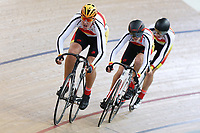Joshua Miller, Jacob Willis and Conor Shearing of Southland compete in the U17 Boys 750m Team Pursuit at the Age Group Track National Championships, Avantidrome, Home of Cycling, Cambridge, New Zealand, Sunday, March 19, 2017. Mandatory Credit: © Dianne Manson/CyclingNZ  **NO ARCHIVING**