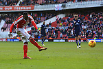 Kenneth Omerou of Middlesbrough strikes at goal in the final minute - Middlesbrough vs. Leeds United - Skybet Championship - Riverside Stadium - Middlesbrough - 21/02/2015 Pic Philip Oldham/Sportimage
