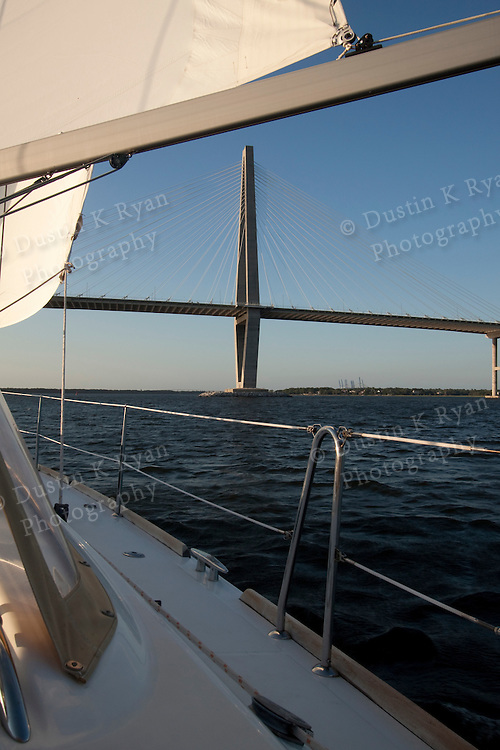 Sailing Sunset charleston south carolina beneteau 49 sailboat yacht cooper river arthur ravenel jr bridge