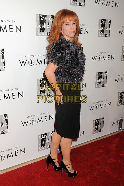 "Kathy Griffin.LA Gay & Lesbian Center's ""An Evening With Women"" 2013 held at the Beverly Hilton Hotel, Beverly Hills, California, USA, 18th May 2013..full length dress  black grey gray fur fluffy shrug cleavage jacket funny lips back side over shoulder .CAP/ADM/BP.©Byron Purvis/AdMedia/Capital Pictures"