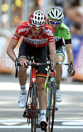 22.07.2014. Carcassonne to Bagnères-de-Luchon, France. Tour de France cycling championship, stage 16.   VAN DEN BROECK Jurgen BEL of Lotto Belisol - MOLLEMA Bauke NED of Belkin-Pro Cycling Team