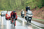 Maria Novolodskaya (RUS) Cogeas-Mettler and Leah Kirchmann (CAN) Team Sunweb out front during a very wet 2019 Liège-Bastogne-Liège Femmes, running 138.5km from Bastogne to Liege, Belgium. 28th April 2019<br /> Picture: ASO/Thomas Maheux | Cyclefile<br /> All photos usage must carry mandatory copyright credit (© Cyclefile | ASO/Thomas Maheux)
