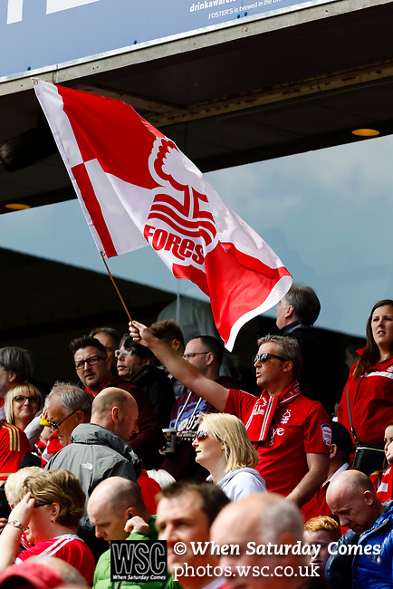 Nottingham Forest 3 Ipswich Town 0, 07/05/2017. City Ground, Championship. A Forest fan flying the flag before the game between Nottingham Forest v Ipswich Town at the City Ground Nottingham in the SkyBet Championship. Photo by Paul Thompson.