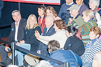 Democratic presidential candidate and former Vice President Joe Biden jokingly left the stage to sit in the crowd after as former Secretary of State John Kerry mistakenly referred to New Hampshire as Massachusetts as he spoke at a Biden campaign event at The Sports Barn in Hampton, New Hampshire, on Sun., December 8, 2019.