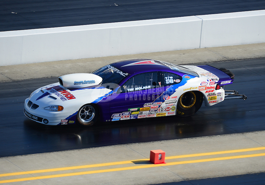 Apr. 14, 2012; Concord, NC, USA: NHRA top sportsman driver Tim Molnar during qualifying for the Four Wide Nationals at zMax Dragway. Mandatory Credit: Mark J. Rebilas-