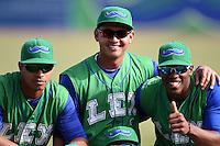 Lexington Legends (L-R) Alfredo Escalera-Maldonado (26), Mauricio Ramos (3) and Elier Hernandez (12) before a game against the Hagerstown Suns on May 19, 2014 at Whitaker Bank Ballpark in Lexington, Kentucky.  Lexington defeated Hagerstown 10-8.  (Mike Janes/Four Seam Images)