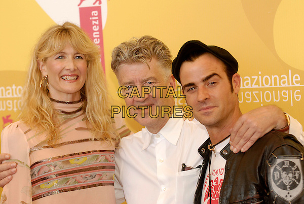 "LAURA DERN, DAVID LYNCH & JUSTIN THEROUX.Photocall for ""Inland Empire"".5th September 2006.63rd Venice International Film Festival, Italy.Ref: KRA.portrait headshot high pink collar.www.capitalpictures.com.sales@capitalpictures.com.©Persun/Capital Pictures"
