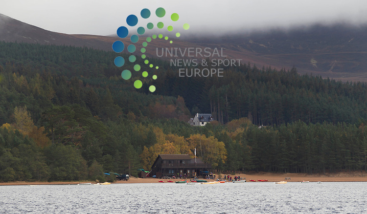 Loch Morlich (Scottish Gaelic, Loch Mh&ugrave;rlaig) is a freshwater loch in the Badenoch and Strathspey area of Highland, Scotland near Aviemore<br /> Picture: Universal News And Sport (Europe) 16 October  2014.