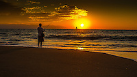 Fine Art Print Photograph, Sunset fishing in Banderas Bay, Puerto Vallarta, Mexico. Sailboat passes by the setting sun.