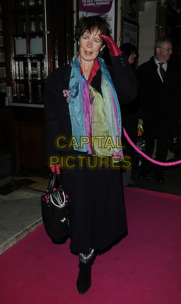 CELIA IMRIE.Press night for 'My Trip Down The Pink Carpet' at the Apollo Theatre, Shaftesbury Avenue, London, England..February 3rd 2011.full length black purple coat scarf turquoise red pink gloves hand salute .CAP/CAN.©Can Nguyen/Capital Pictures.