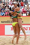 30.05.2015, Moskau, Vodny Stadion<br /> Moskau Grand Slam, Main Draw / Halbfinale<br /> <br /> Jubel Talita Antunes (#2 BRA), Larissa Franca (#1 BRA) nach Sieg<br /> <br />   Foto © nordphoto / Kurth