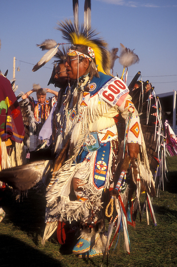 AJ0435, North Dakota, Pow Wow, Native American elderly man dancing at a tribal dance contest in native costume at Little Shell Pow Wow on Fort Berthold Indian Reservation in New Town.