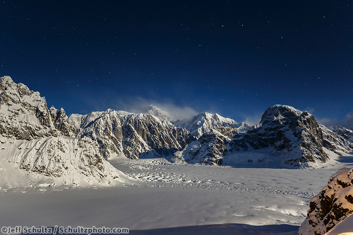 Night time Winter landscape of Denali and the Alaska Range and Ruth Glacier with stars  Winter 2017<br /> <br /> Photo by Jeff Schultz/SchultzPhoto.com  (C) 2017  ALL RIGHTS RESERVED