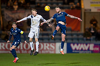 3rd March 2020; Dens Park, Dundee, Scotland; Scottish Championship Football, Dundee FC versus Alloa Athletic; Christie Elliott of Dundee competes in the air with Liam Dick of Alloa Athletic
