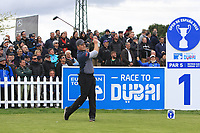 Eddie Pepperell (ENG) on the 1st tee during Round 1 of the Open de Espana 2018 at Centro Nacional de Golf on Thursday 12th April 2018.<br /> Picture:  Thos Caffrey / www.golffile.ie<br /> <br /> All photo usage must carry mandatory copyright credit (&copy; Golffile | Thos Caffrey)