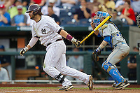Mississippi State first baseman Wes Rea (35) follows through on his swing during Game 1 of the 2013 Men's College World Series Finals against the UCLA Bruins on June 24, 2013 at TD Ameritrade Park in Omaha, Nebraska. The Bruins defeated the Bulldogs 3-1, taking a 1-0 lead in the best of 3 series. (Andrew Woolley/Four Seam Images)