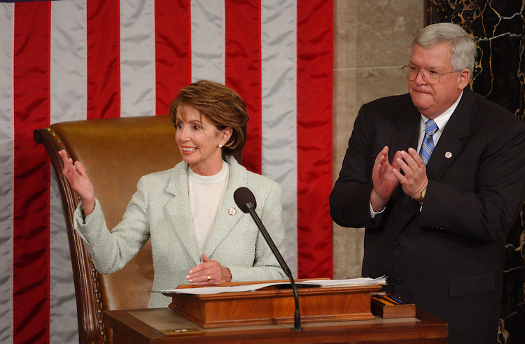 House7_010703 -- Nancy Pelosi, D-CA., makes a speech  after she conceded the race for the Speaker of the House to J. Dennnis Hastert, R-Ill., during the opening session of the 108th Congress. Pelosi was the first female to contest the seat.