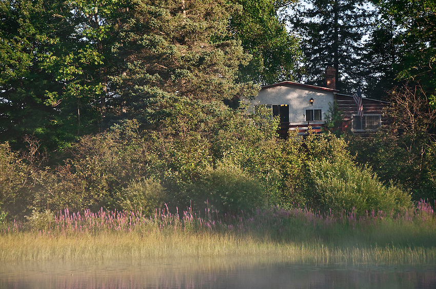 Republic Island Cottage from the Michigamme River near Republic Michigan.