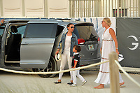 MIAMI BEACH, FL - APRIL 07: (EXCLUSIVE COVERAGE) Billionaire and former Mayor of New York Michael Bloomberg is seen leaving horse jumping with daughters Emma Bloomberg, Georgina Bloomberg along with her son Jasper Michael Brown Quintana and her boyfriend Carlos Arruza Jr at the Longines Global Champions Tour stop day 3 in Miami Beach on April 7, 2018 in Miami Beach, Florida.<br /> People:  Georgina Bloomberg, Jasper Quintana, Emma Bloomberg <br /> CAP/MPI122<br /> &copy;MPI122/Capital Pictures