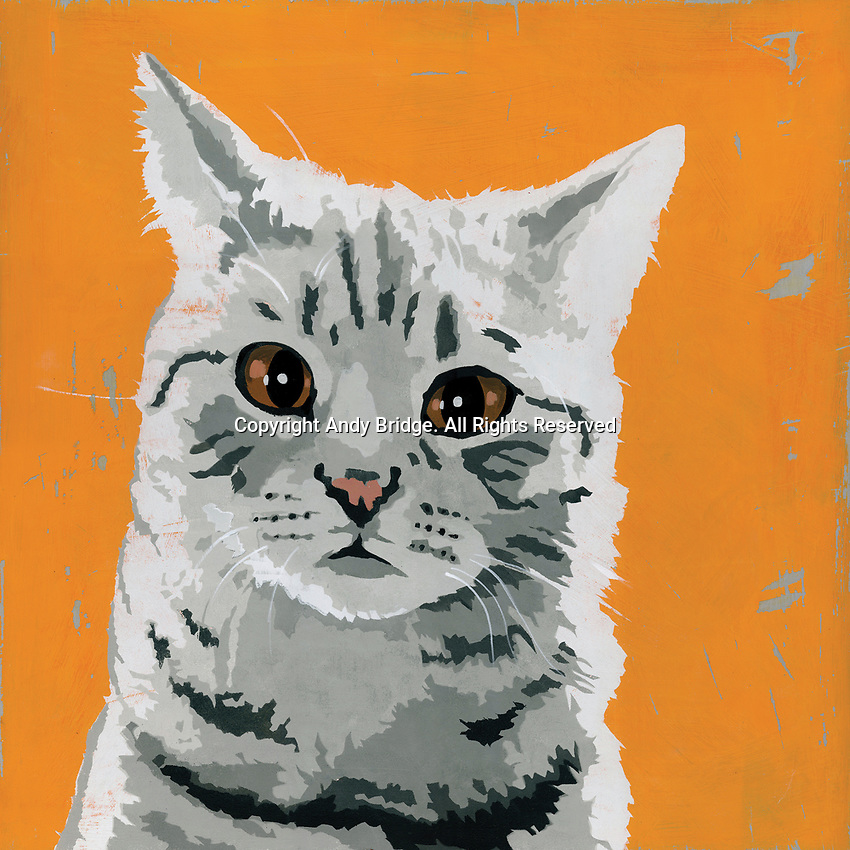 Painting of tabby cat