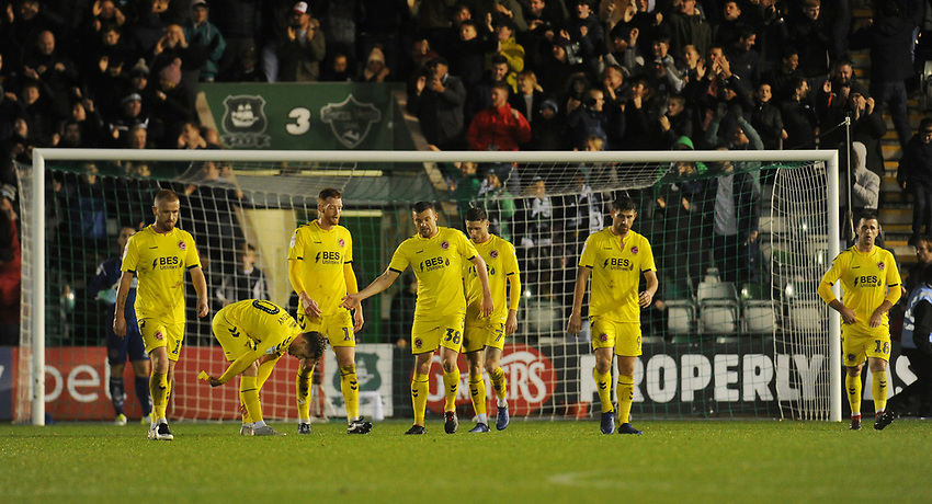 (L-R) Fleetwood Town's Alex Cairns (partially obscured), Paddy Madden, Conor McAleny, Cian Bolger, James Wallace, Wes Burns, Ched Evans and Ryan Taylor look dejected after Plymouth Argyle's Freddie Ladapo (not in picture) scores his side's second goal <br /> <br /> Photographer Kevin Barnes/CameraSport<br /> <br /> The EFL Sky Bet League One - Plymouth Argyle v Fleetwood Town - Saturday 24th November 2018 - Home Park - Plymouth<br /> <br /> World Copyright © 2018 CameraSport. All rights reserved. 43 Linden Ave. Countesthorpe. Leicester. England. LE8 5PG - Tel: +44 (0) 116 277 4147 - admin@camerasport.com - www.camerasport.com