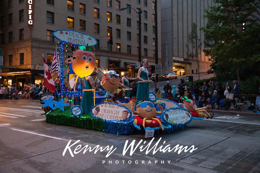 Peach Festival Float, Seafair Torchlight Parade 2015, Seattle, Washington State, WA, America, USA.