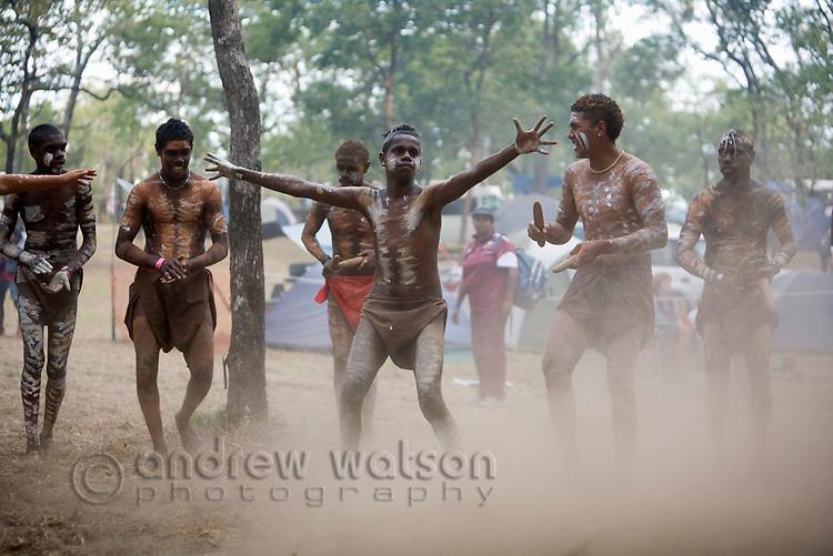 Indigenous dance troupe at the Laura Aboriginal Dance Festival.  Laura, Queensland, Australia