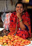 Saleswoman vegetables at  Devaraja Market in Mysore