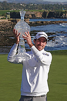 Nick Taylor (CAN) poses with the trophy during prize giving after the final round of the AT&T Pro-Am, Pebble Beach, Monterey, California, USA. 08/02/2020<br /> Picture: Golffile | Phil Inglis<br /> <br /> <br /> All photo usage must carry mandatory copyright credit (© Golffile | Phil Inglis)