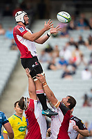March 14th 2020, Eden Park, Auckland, New Zealand;  Lions forward Len Massyn wins the line out ball against the Blues during the Super Rugby match between the Blues and the Lions, held at Eden Park, Auckland, New Zealand.