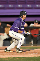Left fielder Jabari Richards (6) of the Furman Paladins in game two of a doubleheader against the Harvard Crimson on Friday, March 16, 2018, at Latham Baseball Stadium on the Furman University campus in Greenville, South Carolina. Furman won, 7-6. (Tom Priddy/Four Seam Images)