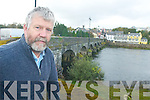 BRIDGE: Killorglin councillor, Johnny O'Connor, highlighting the subsidence on the bridge across the River Laune which is causing concern locally.   Copyright Kerry's Eye 2008