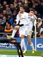 Pictured L-R: Michu of Swansea celebrating his goal with team mate Ben Davies. Sunday 24 February 2013<br />