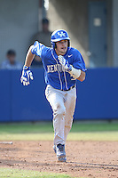 Zach Arnold (35) of the Kentucky Wildcats runs to first base during a game against the UC Santa Barbara Gauchos at Caesar Uyesaka Stadium on March 20, 2015 in Santa Barbara, California. UC Santa Barbara defeated Kentucky, 10-3. (Larry Goren/Four Seam Images)