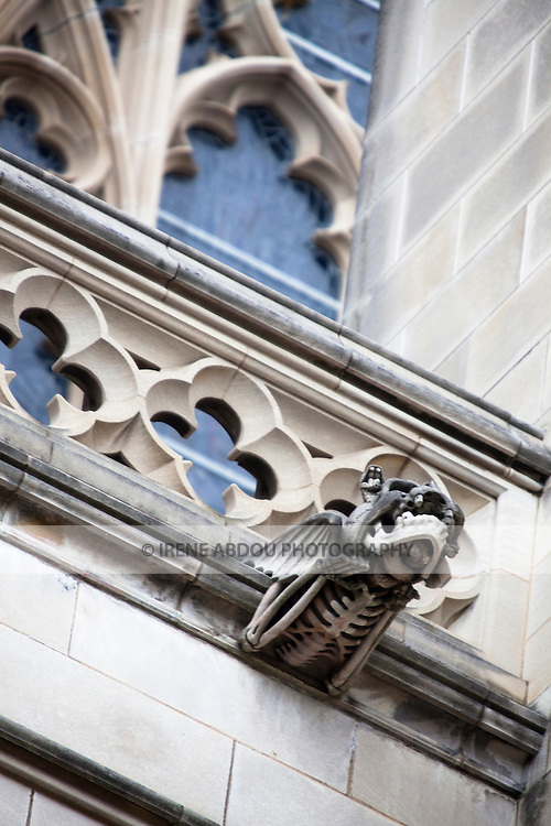 """The Washington National Cathedral in Washington, DC is home to more than 200 stone-carved gargoyles, including """"decay,"""" shown here.  The purpose of the gargoyles were to both keep evil out of the cathedral and to serve as a water drainage system in torrential rain - the water pours out of the mouth of the gargoyle."""